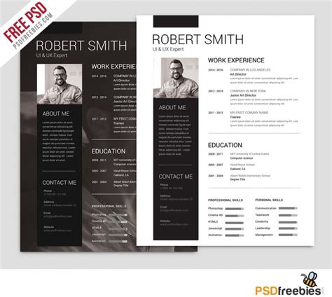 X Clean Resume Free by Simple And Clean Resume Free Psd Template