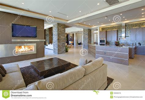 modern kitchen living room ideas living room with open kitchen stock image image 33906379