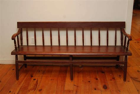 spindle back bench spindle back red canadian bench at 1stdibs