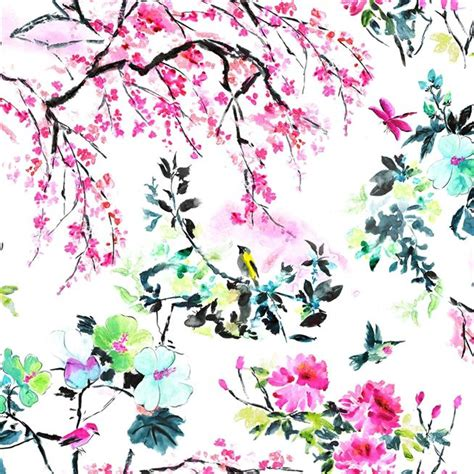 chinoiserie flower   peony fabric   Designers Guild