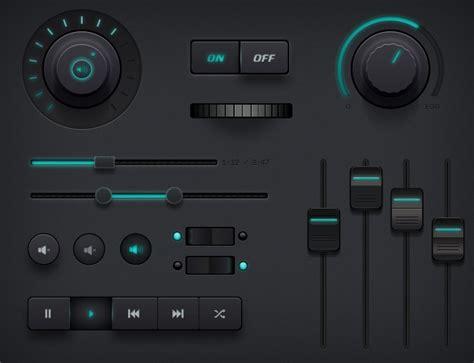 video player layout psd free dark audio controller ui kit psd titanui