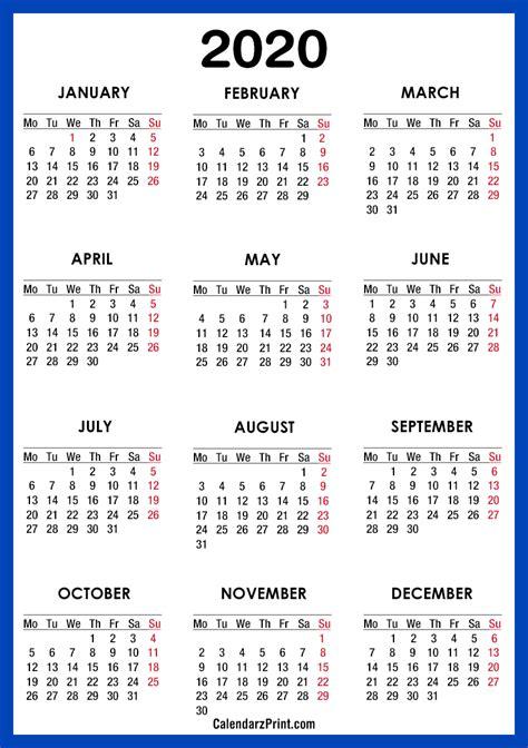calendar printable  electric blue monday start calendarzprint  calendars