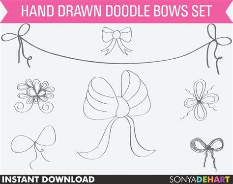 doodle hair bow 80 sale clipart bows digital bows bow clip ribbon
