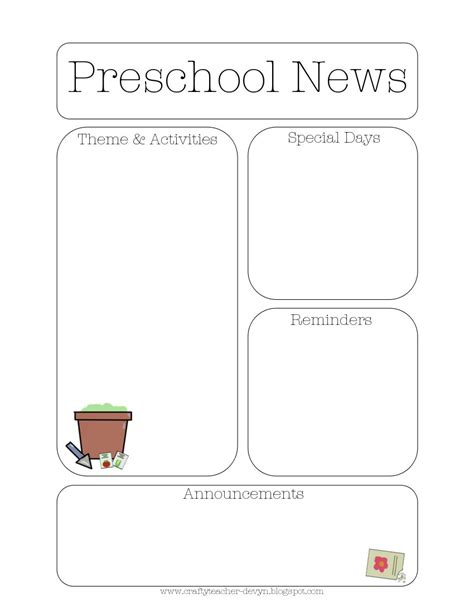 preschool newsletters templates the crafty newsletter templates