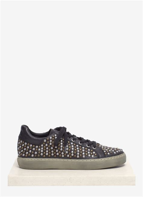 studded sneakers lyst ash soda studded leather sneakers in black