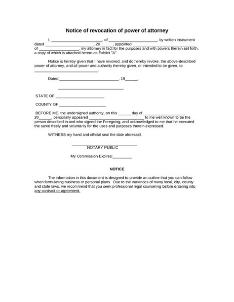 power of attorney form template download printable
