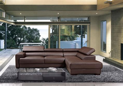 modern brown leather sectional sofa