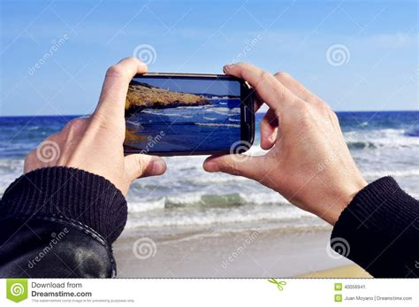 Taking A by Picture Of A With A Smartphone Stock Image Image