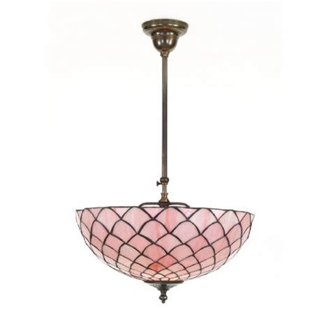 tiffany uplighter ceiling light aged brass pink tiffany