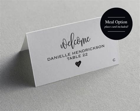place card template printable template wedding place