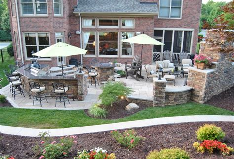 Outdoor Kitchen Table Outdoor Kitchen With Bar Custom Table And Fireplace With Flat Screen Tv