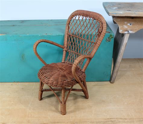 wicker doll chair high back chair vintage doll furniture