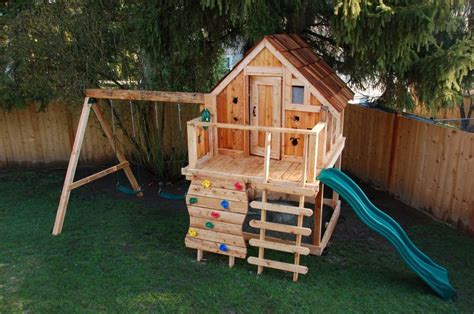 playhouse swing set combo swingset and playhouse combo kids play yard ideas