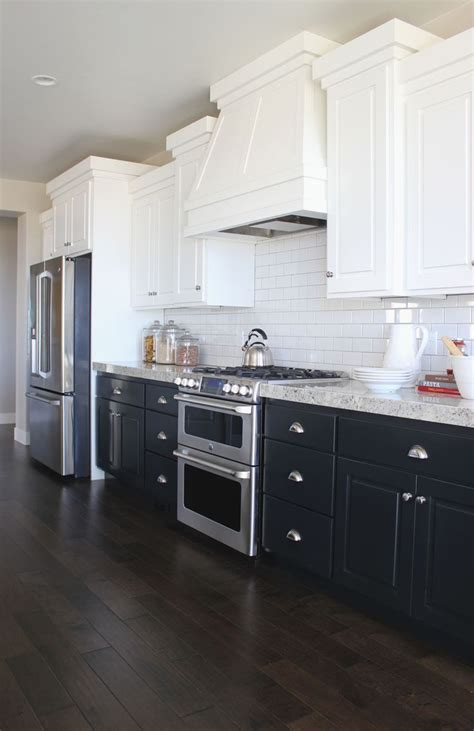 kitchen cabinets white top black bottom kitchen white cabinets navy cabinets home ideas