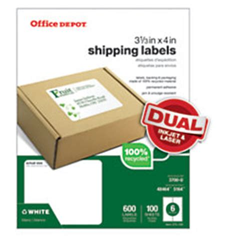 Office Depot Shipping by Office Depot Brand 100percent Recycled Mailing Labels