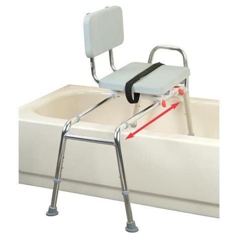 sliding shower bath transfer bench chair w padded swivel