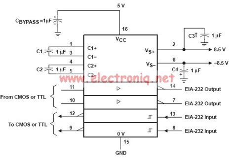 max232 ic pin diagram max232 schematic rs 232 serial port vesselyn