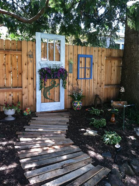Backyard Door Ideas Our Summer Yard Project Repurposed Door And Window Frame With A Pallet Path Pins I