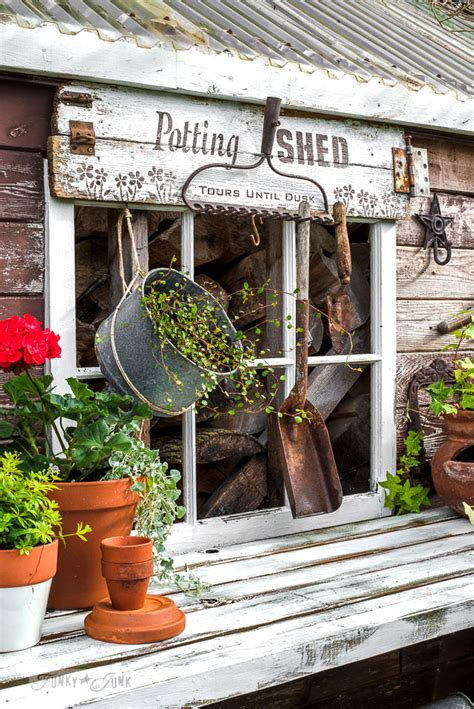 Signs For Sheds by Rustic Shed Reveal With Sawhorse Potting Bench And