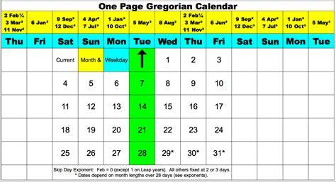Gregorian Calendar Calndr L Fwd Modified Gregorian Calendar Re One Page