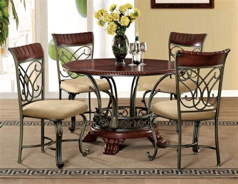 cherrywood dining room sets acme furniture omari cherry bronze 5pc dining room set