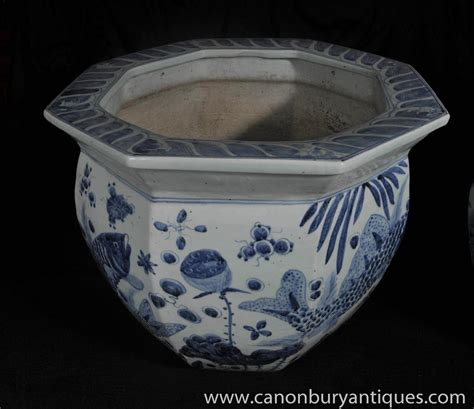 Blue And White Pottery Planters by Pair Nanking Pottery Planters Bowls Blue White Porcelain