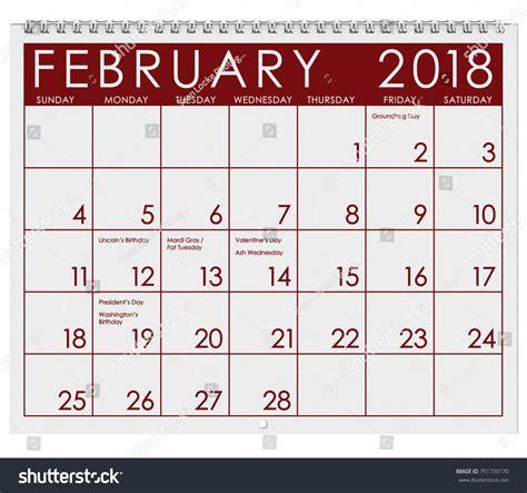 Calendar 2018 Valentines Day 2018 Calendar Month February Valentines Day Stock Photo