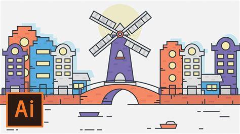 flat landscape illustrator tutorial for beginners youtube illustrator tutorial windmill city landscape flat design