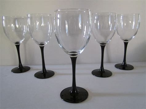wine glass without stem vintage two wine glasses 8 oz black stem