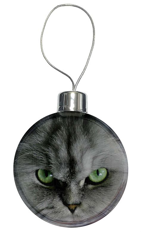 grey persian cat christmas tree bauble decoration gift ac