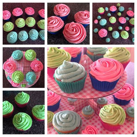 pink peppermint multi flavored cupcakes blue vanilla buttercream cupcakes