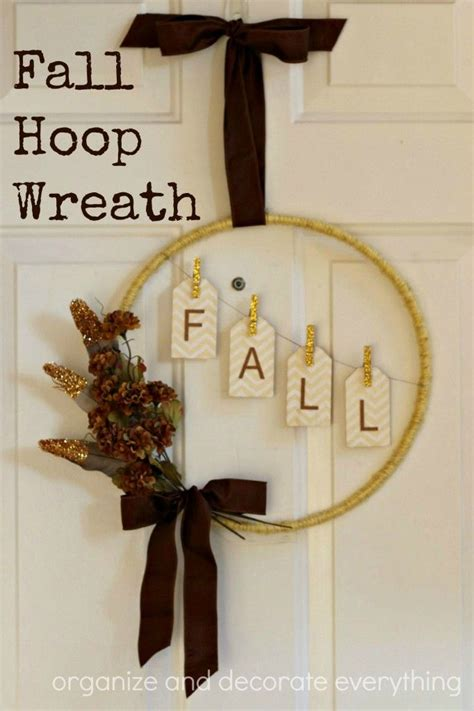 How To Decorate A Room Fall Hoop Wreath Using A Large Hoop And A Few Supplies