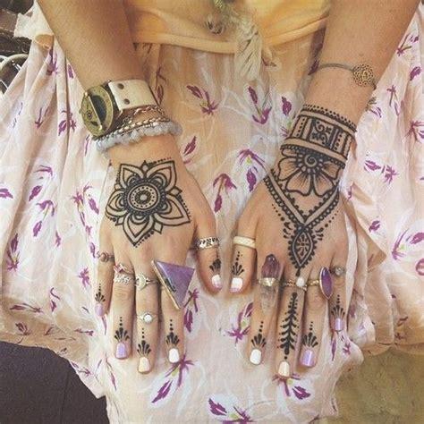 henna tattoo hand beautiful henna crystals rings boho jewels free