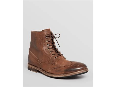 mens modern boots modern fiction wingtip boots in brown for lyst