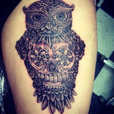 owl tattoo thigh owl and sugar skull thigh tattoo tattoos beautiful
