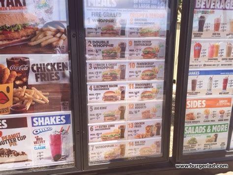 burger king usa menu prices price list