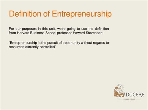 Define Mba From Harvard by Module 1 What Is Entrepreneurship