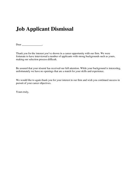 Rejection Letter To Applicant Resume Rejection Letter Resume Cover Letter Exle