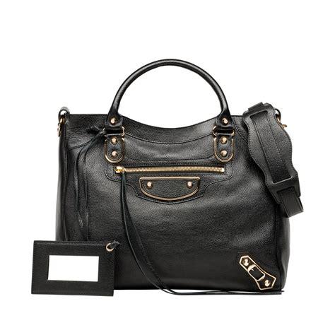 Balenciaga Handbag by Balenciaga Classic Metallic Edge Velo Black S