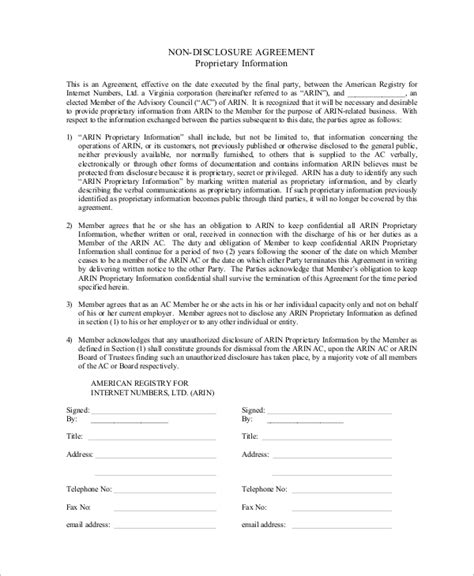 10 Sle Non Disclosure Agreements In Pdf Sle Templates Exle Of Non Disclosure Agreement Template
