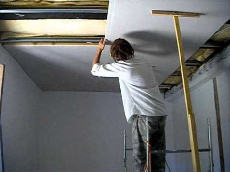 How To Fit A Plaster Ceiling by How To Put A Plasterboard Ceiling Up On Your Own At Height