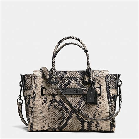 Coach Swagger Snake Large With Leather Sz 9935 coach coach swagger 27 carryall in snake embossed leather