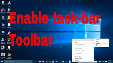windows bar on top windows 10 how to enable toolbar in taskbar