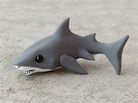 baby shark german tiny great white shark handmade miniature by animalitoclay