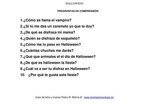 preguntas basicas para una entrevista a un famoso cancion de halloween para ni 241 os preguntas comprensi 243 n