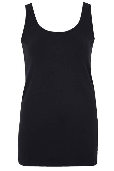 Vest 16 Black black longline vest top