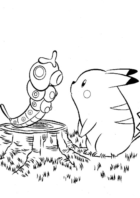 pokemon coloring pages caterpie pokemon coloring pages pikachu coloring home