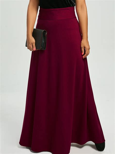 plus size high waist maxi flare skirts in wine 3xl