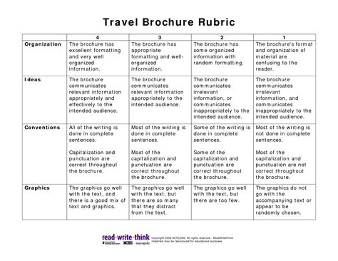 travel brochure templates for students travel brochure rubric pdf picture teaching