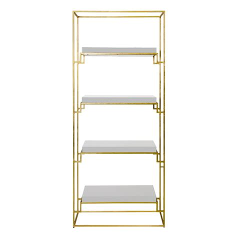 White Etagere Bookcase worlds away gold leaf etagere with white lacquer shelves